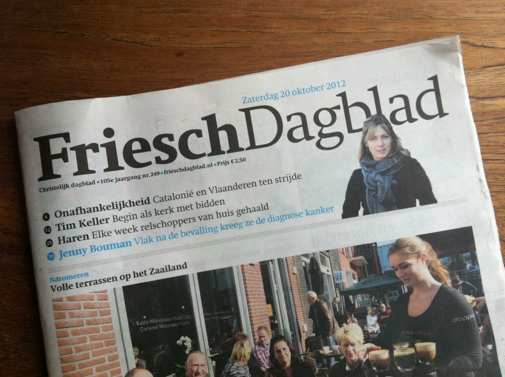 Kankerzooi! Jenny Bouman in het Friesch Dagblad
